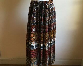 vintage. Indian Gauze Drawstring  Full Skirt • Free Size Skirt • Boho Chic Skirt