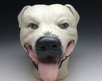 Custom pet portrait bust sculpture, animal art head statue dog cat with surface painting