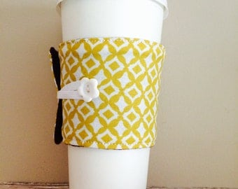 Coffee Cup Cozy, Coffee Cup Sleeve, Cup Cozy, Cup Sleeve, Reusable Coffee Sleeve - Mustard Geo [15]