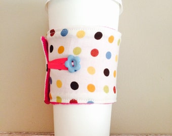 Coffee Cup Cozy, Coffee Cup Sleeve, Cup Cozy, Cup Sleeve, Reusable Coffee Sleeve - Cream Multi Dot [13]