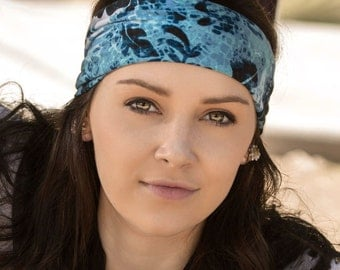 Wide Hair Band, Light Blue Ear Warmer, Ladies Hair Band, Stretch Headscarf, Navy Blue Athletic Hair Band (#1110) S