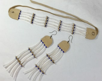 Dentalium choker and earring set indian tusk shell old native american style, silver lined royal blue czech beads, regalia, tusk shell long