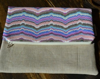 Tan Fold Over Clutch