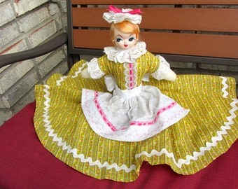 Vintage Retro BIG EYED Southern Bell Half Doll on Wooden Block Hat Apron Dress Rick-Rack Handmade Hand-Crafted