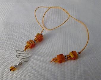 Beaded Bookmark (Book Thong) - Awesome Orange