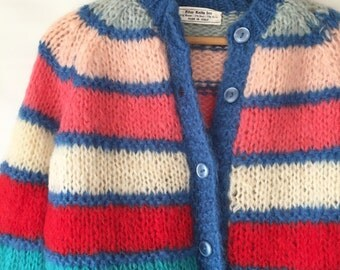 ON SALE 1960s Mohair Sweater Cardigan Made ITALY Striped Pink Blue Chunky Knit