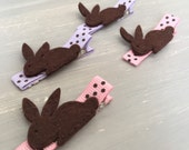 Chocolate Bunny Hair Clips