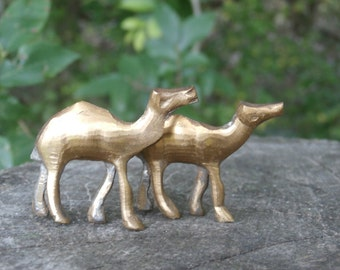 Pair of Vintage Camel Figurines for Crafting or Collecting, 1 5/8 inches, 1 1/2 inches, Miniature Figures