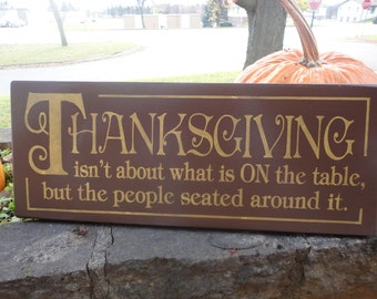 """THANKSGIVING SIGN/Home Decor/Thanksgiving Decor/Wood Sign/Fall Decor/Fall Sign/Brown/Gold/Primitive/Rustic/Country/Shelf Sitter/7.5"""" x 18"""""""