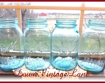 4 Blue Ball Mason Jars Perfect Mason QUART Size Vintage Canning Jars