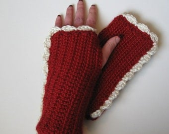 Wine Red Crocheted Hand Warmers with Ivory Ruffle