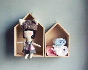 1 grey CAT handmade Doll - Wall hanging doll - KIDS decoration