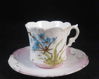 Antique Victorian Demitasse Hand Painted Tea Cup & Saucer