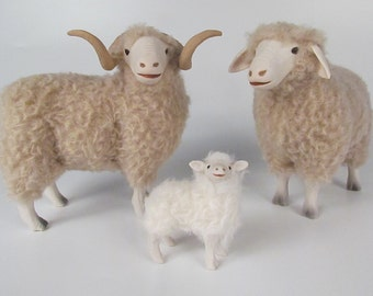 Colin's Creatures  Rambouillet Family Figures in Porcelain and Wool