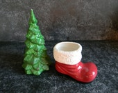 Vintage Christmas red ceramic santa boot and green christmas tree kitsch farmhouse chic retro decor holiday decor gift for her