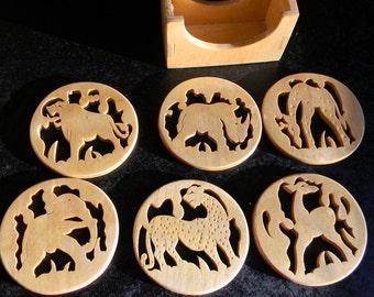 Vintage Handcrafted African animal coasters handmade home decor safari animals