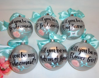 Bridesmaid Gifts - PERSONALIZED Will You Be My Bridesmaid Ornaments, Bridesmaid Ornaments, Peach Rose, Will you be my Maid of Honor?