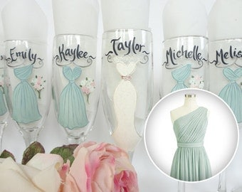 EXACT DRESS REPLICAS, Bridesmaid Gift Ideas, Hand Painted Personalized Champagne Glasses, Dress Wine Glasses, Green Dress, Bridal Glassware