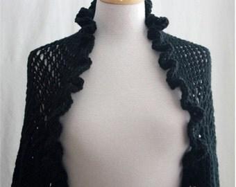 Knit Womens Shrug,  Black Shrug, Bolero, Evening, Elegant, Womens Fashion Ruffle Bolero 3/4 sleeve