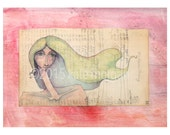 Mixed Media Girl Portrait Vintage Paper Pink Background 8x10 Archival Print