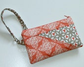 Coral  Phone Case Pouch Wristlet Wallet  Credit Card Slots iPhone 6 Choose Any Fabric in My Shop Shoulder Strap Lace Ready to Ship
