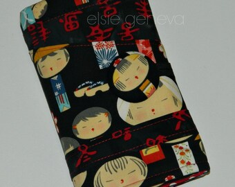 Japanese Knitting Case Dolls Words Dots Spill Proof Interchangeable Circular DPN Needle Organizer Black Red Sewn in Zipper Pocket