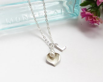 Personalized Initial Necklace With Birthstone In Calla Lily With Swarovski Crystal in Silver, Custom Jewelry, Bridesmaids Gift