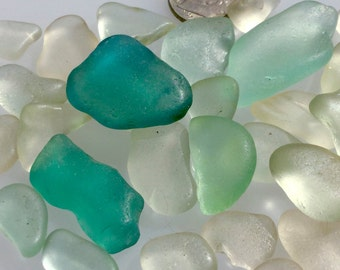 Sea Glass or Beach Glass of Hawaii beaches  BLUE! AQUA! TEAL! Perfect shapes for jewelry! Seaglass