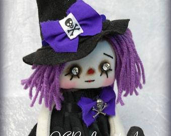 On SaLe Raggedy TABITHA Annie- Witch cute Halloween Autumn Fall ooak primitive folk art home decor collectable Purple skull gothic goth