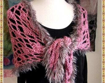Pink Lacy Shawl - Shawlette - Crochet - Faux Fur - Triangle Scarf