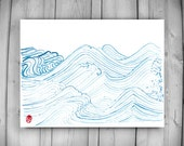 Zen Taoist Water and Waves Painting, original handmade sumi ink and watercolor paintiing, zen decor, spiritual art, japan illustration, tao