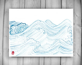 Zen Taoist Water and Waves Painting, original handmade sumi ink and watercolor paintiing, zen decor, spiritual art, japan illustration, tao