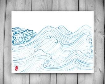 Waves, Zen Taoist Water and Waves, original handmade watercolor painting, zen decor, spiritual art, japan illustration, taoist art