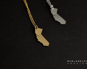 Silver or Gold Little Hand-Saw LOVE California Necklace