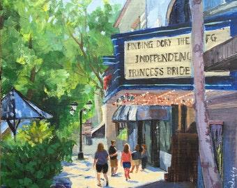 Original  Painting Movie Theater Downtown Camas Washington  by Elo Wobig 8 x 8 inches