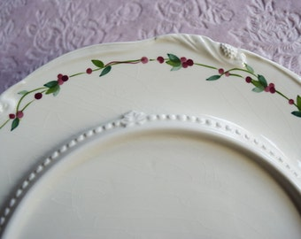 Holly Berry Holiday CERAMIC SERVING PLATE Platter Round Raised Center Hand Painted Candle Dessert Dining Greenery Pearl Border Christmas