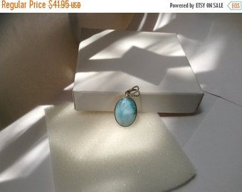 ON SALE Larimar Jewelry Oval pendant Blue Sky Larimar pendant Sterling Silver 925 Gift for her Gift under 50 unisex pendant