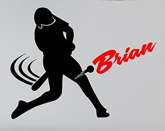 Personalized Baseball Wall Decal Removable Baseball Player Vinyl Wall Sticker