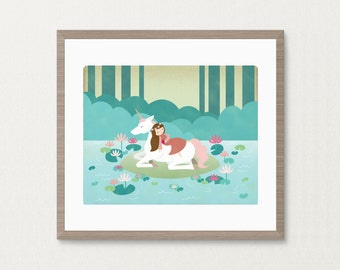 Sleeping Beauty Unicorn Lake -  8x10 Archival Art Print