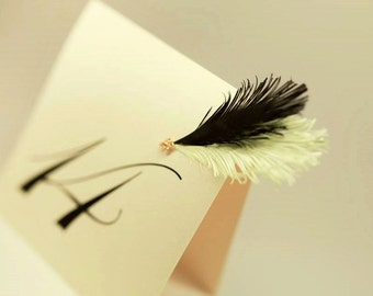 Retro Wedding Table Numbers | with feather | Black and Mint green | Tent Style
