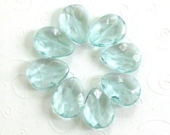 Large Aqua Quartz Briolette Beads / Crystal Clear / Lot of 8 Pillow Faceted Beads / Destash Beads / Bargain Beads