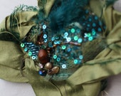 peacock blue green silk  feathers and beaded mesh brooch boho shabby chic brooch tattered textile brooch