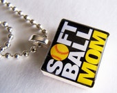 Softball Mom SCRABBLE TILE Pendant and Chain ONLY - Charms, Beads, Name Tags Extra
