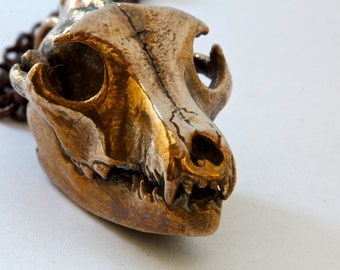 Wolf Skull cast in bronze Blue Bayer NYC Wolf Skull Jewelry