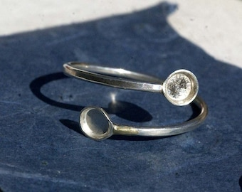 Sterling Silver Bezel Cup Ring for Resin Gluing or Setting - Size 8