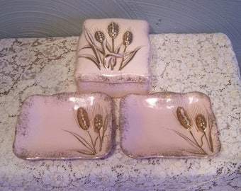 SALE, Lefton Mid Century Dresser Set, Pink & Gold, Pin Dishes, and Trinket Box, Signed and Dated 1956
