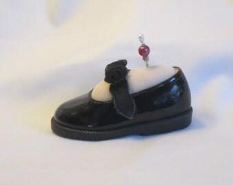 Handmade Pincushion - Black Patent Mary Janes with black ribbon roses - My Left Foot - Vanilla
