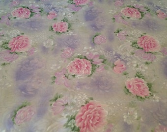 2 Yards of Chiffon Polyester Watercolor Floral Print Semi-sheer Fabric