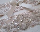 Champagne Wedding Garter Set, Nude & Ivory 2-Tone Lace Bridal Garter, Bling Rhinestone Garters, Rustic Vintage Garter Country Bride
