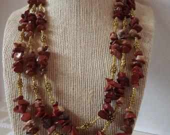 Long Red Jasper Necklace